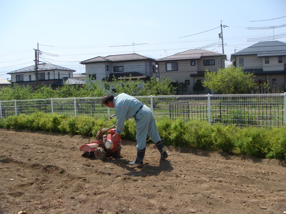 教育・環境部会長は耕運機を操作してます