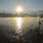千曲川の寒い朝 気嵐