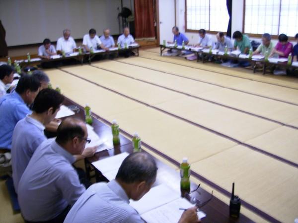 「柳原地区及び中俣地区防災訓練参加について」実施計画の 説明が、区長からあり訓練当日の徹底確認がされました。