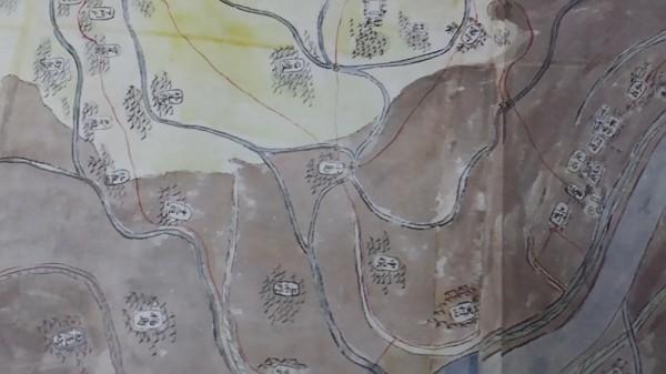 小島まで泥水が押し寄せ洪水であったことが判る。中俣、布野、村山(東村山とある)も確認できる。